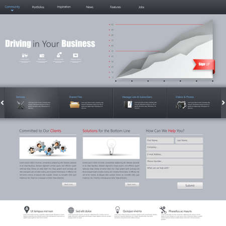 web element: Clean Business Professional Website Template, Eps 10, Vector illustration.