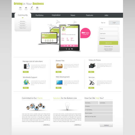 website: Clean Business Professional Website Template, Eps 10, Vector illustration.