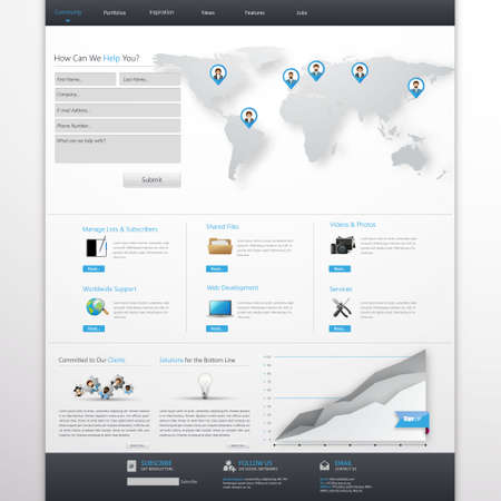 website buttons: Clean White and Blue Business Website Template Design EPS 10