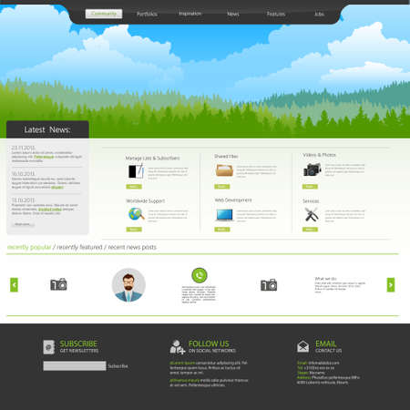 website template with Mountains, pine forest