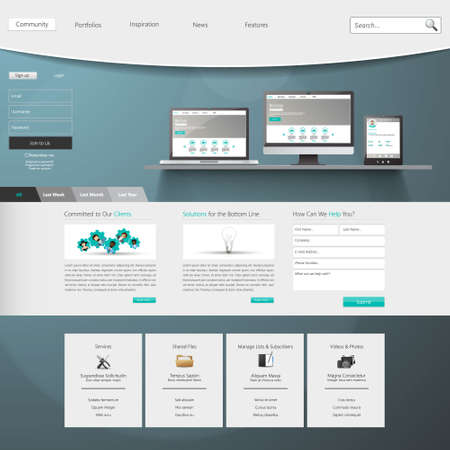 Website design template menu elements with icons Vector