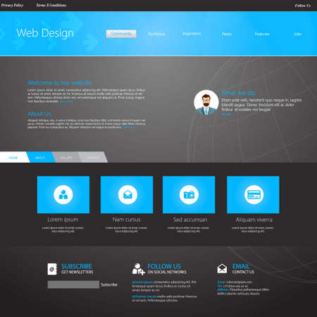 template: blue business website template - home page design - clean and simple - with a space for a text