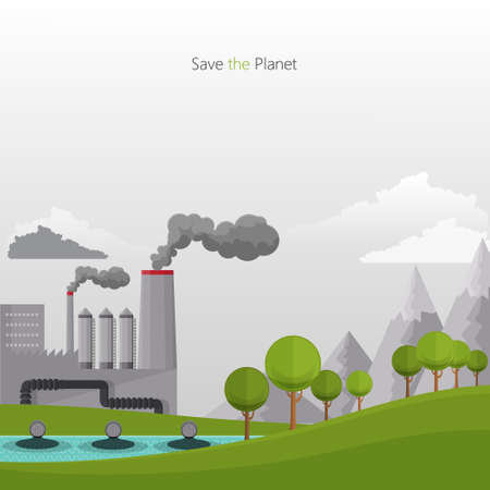 Flat design vector concept illustration with icons of ecology, pollution