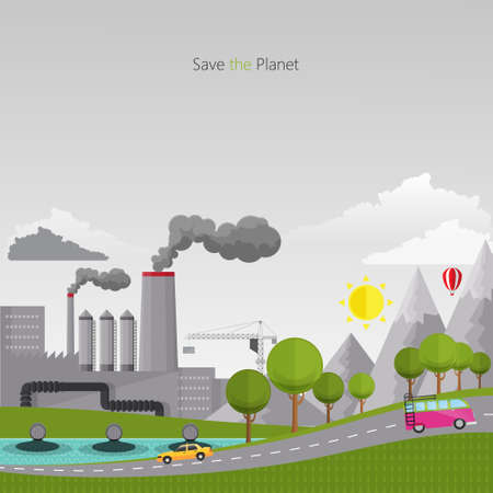 contaminacion del aire: Eco Dise�o plano vector ilustraci�n del concepto con los iconos de la ecolog�a, la contaminaci�n Vectores