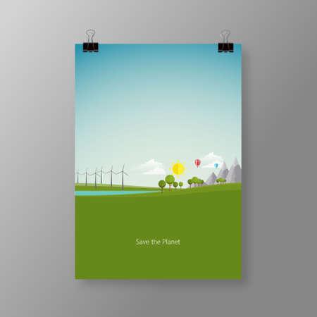 green land: Flat ecology design, environment, green land.