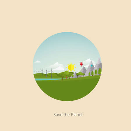windfarm: Ecology Landscape Illustration Flat Style