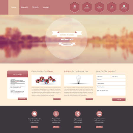 Website Template with a retro vintage colors, filter, and blurred background Vector
