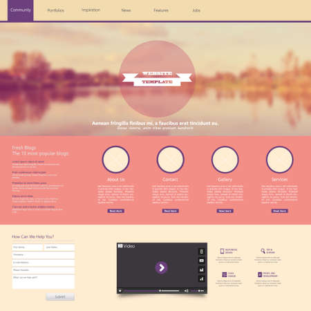 website template: Website Template with a retro vintage colors, filter, and blurred background