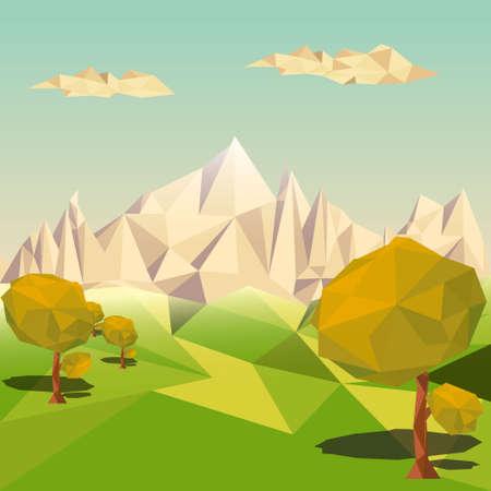 多角形の背景、山岳地帯、ベクトル イラスト