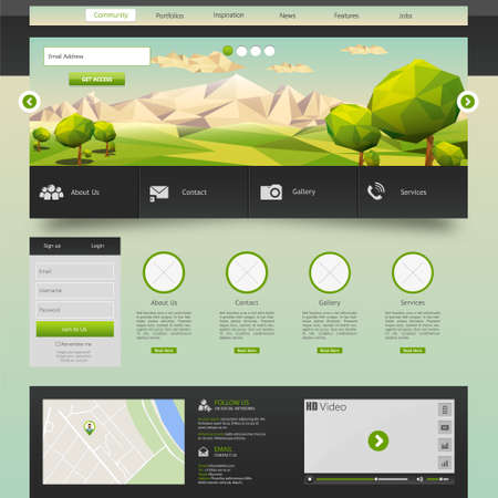 Modern Eco website template with flat eco landscape illustration Illustration
