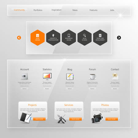 minimal: Website Template, Glass Transparent Minimalistic design with icons and buttons