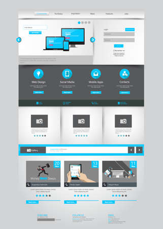 ecommerce: One page business website template - home page design - clean and simple - vector illustration