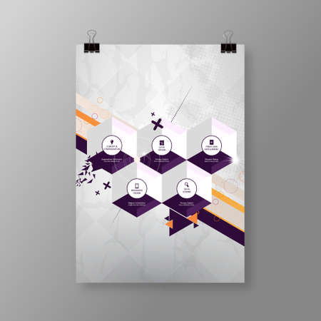 a3: A4  A3 format poster minimal hexagons abstract background with your text Illustration