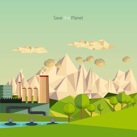 low energy: low polygon landscape environmental pollution theme.