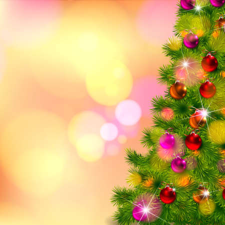 christmastree: Realistic Vector of Christmas-tree decorations with bokeh background Illustration