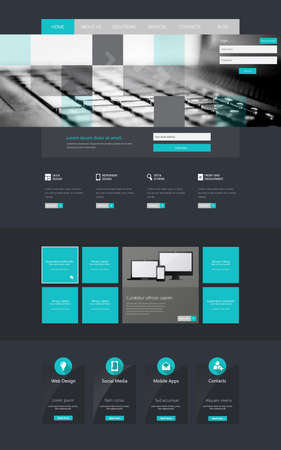 page layout: One page website design template Illustration