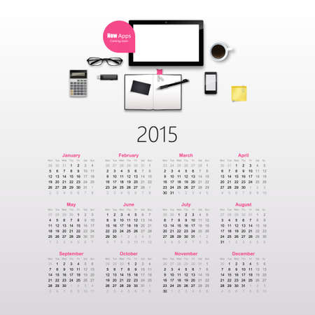 Calendar for 2015, with photorealistic office objects. Vector