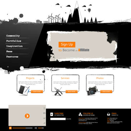 website window: Website template Grunge professional design