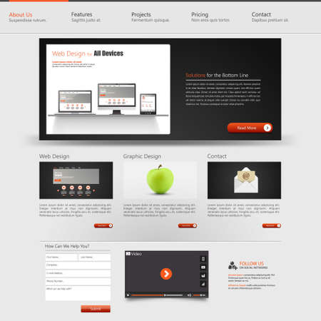 Website interface template design. Vector Vector