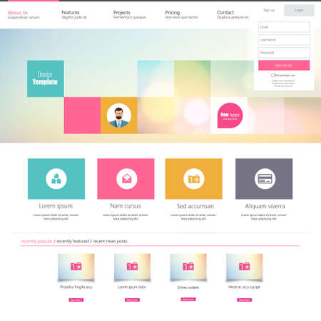 Wohnung Colorful Website Template Design- Standard-Bild - 35777439