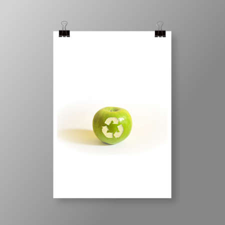 illustration of an isolated apple with a recycle sign. Cover or Flyer Design Vector