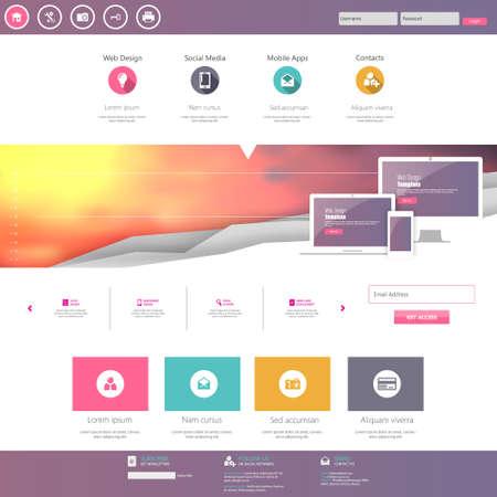 online form: Flat Website Design Template Vector Illustration Illustration