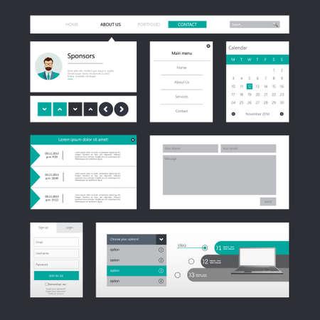 Set Wohnung / Ui Web Design, Elemente, Schaltflächen, Symbole ...