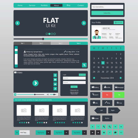 Platte Website elementen, Ui kits. Vector illustratie Stock Illustratie