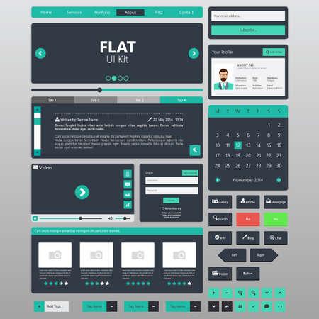 Flat Website elements, Ui kits. Vector illustration