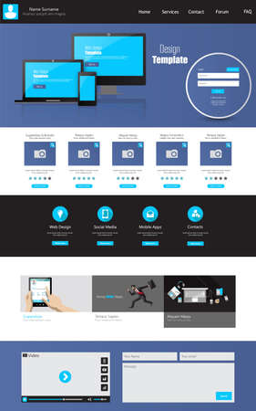 One page business website template - home page design - clean and simple - vector illustration Vector