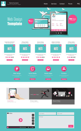 One page business website template home page design clean one page business website template home page design clean and simple vector illustration flashek Images