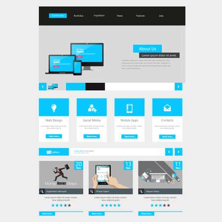 Flat Website interface template design. Vector
