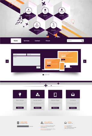user friendly: Modern Trendy and Creative Website Template. Abstract web design illustration