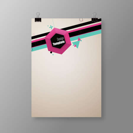 A4  A3 format poster design with your text, minimal background, paper clips and shadow  Vector