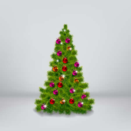 decorated christmas tree: vector illustration of decorated Christmas tree realistic illustration