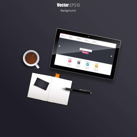 Tablet on Desk Still Life Realistic Vector Vector