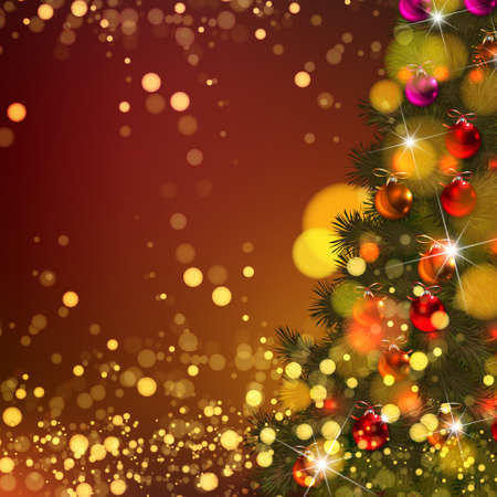 Beautiful Vector Christmas background of de-focused lights with decorated tree