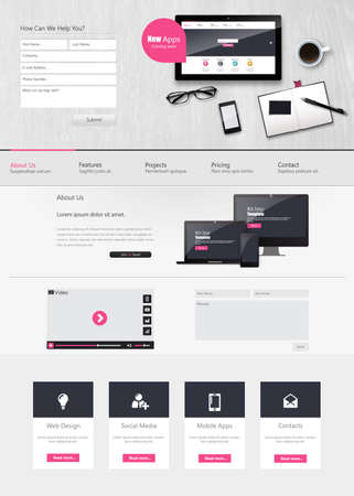 Website Template Vector Design with realistic still life illustration, tablet, coffee, notebook. Illustration