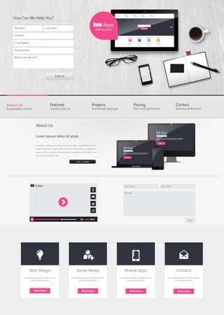 web commerce: Website Template Vector Design con realistico ancora illustrazione vita, tablet, caff�, quaderno.