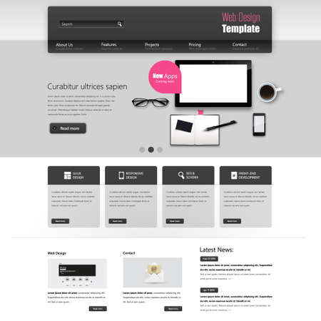Website interface template vector design with realistic still life illustration, tablet, coffee, notebook. Vector