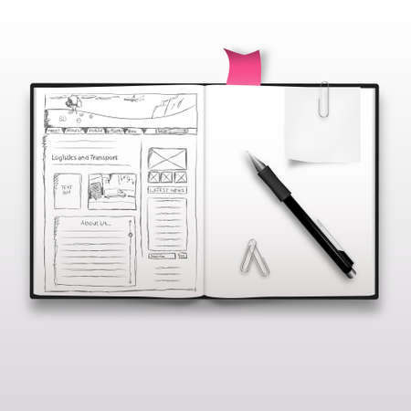 web graphics: Website sketch on notebook, realistic illustration. Illustration