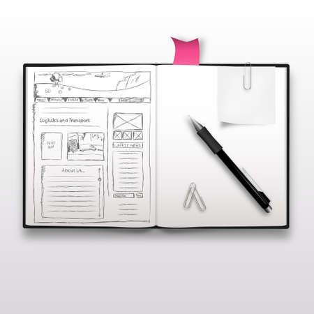 web menu: Website sketch on notebook, realistic illustration. Illustration