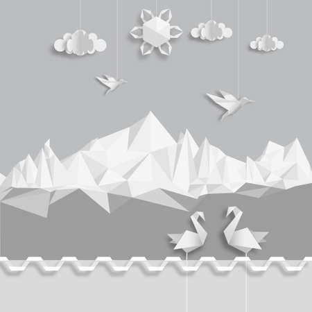 cisnes: Ilustración realista, de nubes origami, pájaros y sol.