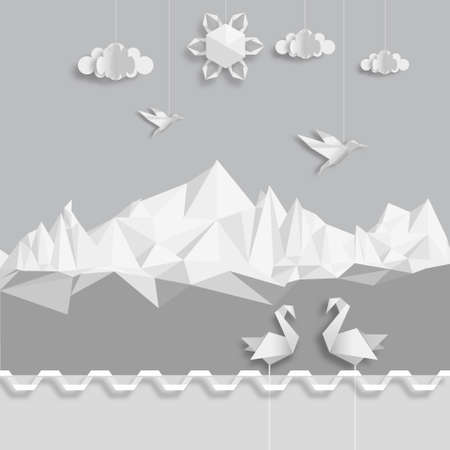origami: Realistic illustration, of origami clouds, birds and sun. Illustration