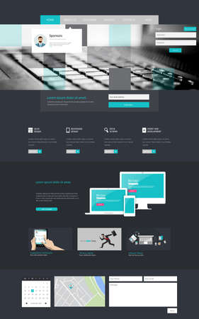 design layout: One page website design template Illustration