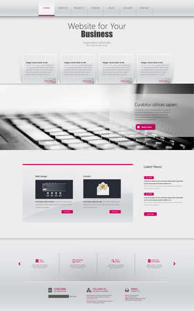 web graphics: One page website design template. All in one set for website design that includes one page website template. Illustration