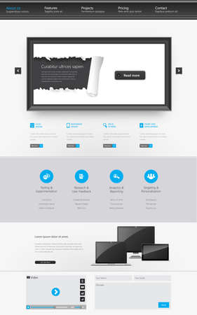 Modern Clean One page website design template. All in one set for website design that includes one page website template. Vector