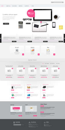 Modern Clean One page website design template. All in one set for website design that includes one page website template.