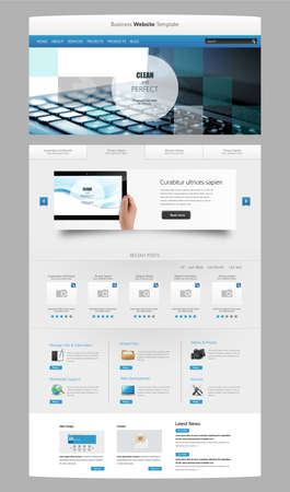 Modern Clean One page website design template. All in one set for website design that includes one page website template with Tablet in Hand realistic illustration. Vector