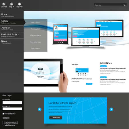 Modern Clean website design template. All in one set for website design that includes one page website template with Tablet in Hand realistic illustration. Vector